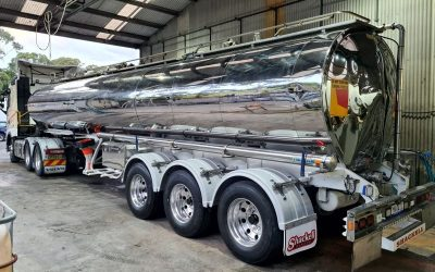 Abrasive Sand Blasting and Industrial Coating of Semi Tanker Truck Body